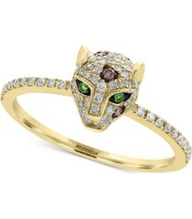 effy diamond (1/3 ct. t.w.) & tsavorite accent panther statement ring in 14k gold
