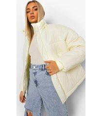 oversized gewatteerde jas met capuchon, crème