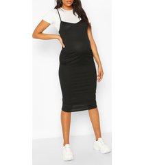 zwangerschap 2-in-1 midi jurk en t-shirt, zwart