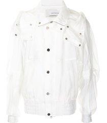 feng chen wang sheer-design bomber jacket - white