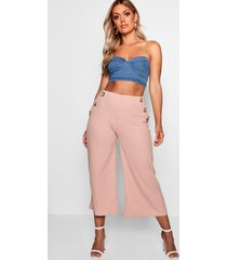 plus horn button front culottes, nude