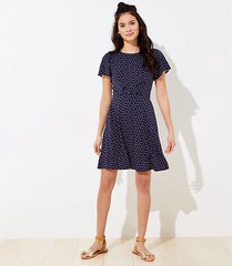 loft dotted tie back pocket flare dress