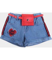 shorts jeans bebê plural kids c/ pochete girl power menina