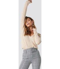 na-kd trend alpaca wool blend v-neck sweater - beige