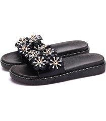 zapatillas de flores mujer verano pvc lentejuelas rhinestone sandalias