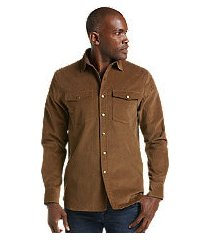 reserve collection tailored fit velour shirt jacket - big & tall clearance