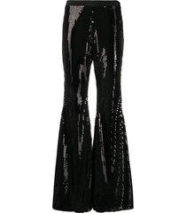 amen sequin embellished trousers - black