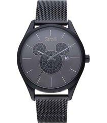 orologio solo tempo topolino con cinturino e cassa acciaio nero e strass per uomo