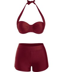 halter underwire boyshorts push up bikini swimwear