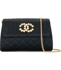 chanel pre-owned 1992 quilted rhinestone cc clutch - black