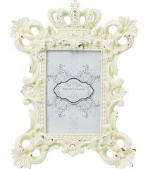 porta retrato  branco rãºstico 27x21cm kasa ideia - branco - dafiti