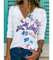 camicetta casual da donna con scollo a v manica lunga stampa farfalle