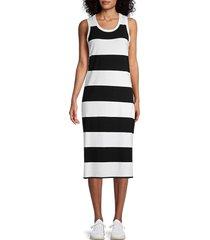 marc new york performance women's rugby stripe midi dress - black white - size s