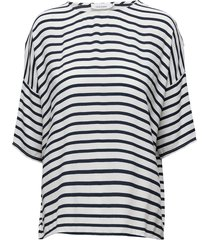mains tee stripe 5687 t-shirts & tops short-sleeved blauw samsøe samsøe