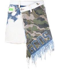 gcds camouflage-print asymmetric skirt - blue