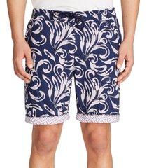 "tallia men's slim-fit gingham drawstring 9"" shorts"