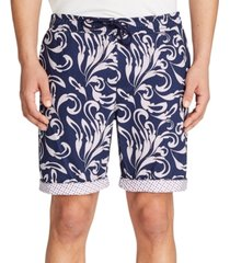 "tallia men's slim-fit gingham drawstring 9"" shorts"