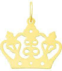 ciondolo in oro giallo con simbolo corona per donna