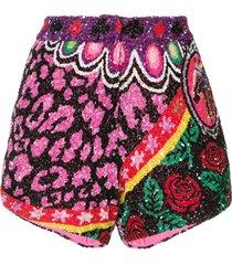 manish arora leopard roses sequin shorts - multicolour