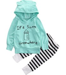 2pcs/ its 5am somewhere ear hoodie + striped pants outfit for newborns