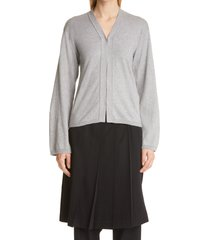 women's comme des garcons v-neck jersey cardigan, size small - grey