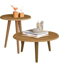 conjunto sala de estar lyam decor mesa de centro e lateral cinamomo