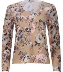 blusa floral con botones en frente color café, talla 6