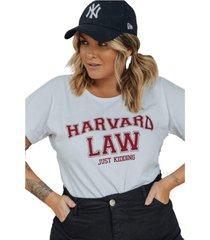 blusa in love t-shirt harvard branca - branco - feminino - algodã£o - dafiti