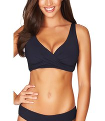 women's sea level cross front bikini top, size 12 us - blue