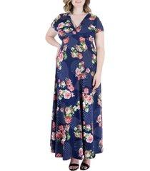 plus size floral cap sleeve empire waist maxi dress