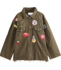 chaqueta oversize parches verde nicopoly