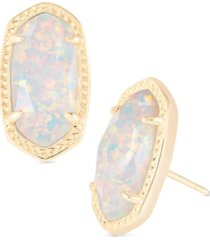 kendra scott 14k gold-plated oval stone stud earrings