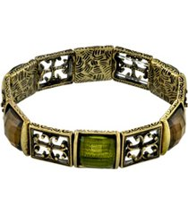 2028 gold-tone olivine green stretch bracelet