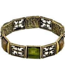 2028 gold-tone olivine green stretch bracelet