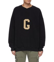 'g' alphabet print cotton fleece sweatshirt