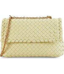 bottega veneta women's intrecciato chain leather shoulder bag - yellow