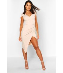 cap sleeve wrap midi dress, stone