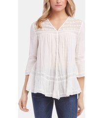 karen kane cotton embroidered lace-inset top
