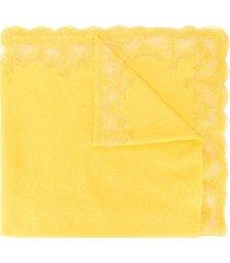 ermanno scervino lace trim scarf - yellow