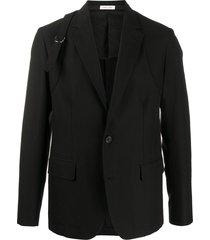 alexander mcqueen buckle strap single-breasted blazer - black