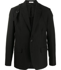 alexander mcqueen buckle strap single-breasted blazer - black
