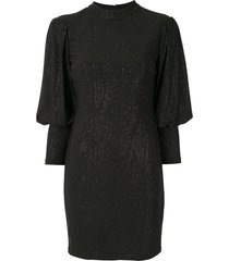 aidan mattox glitter bell-sleeve dress - black