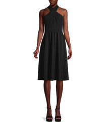 calvin klein women's crossed halterneck dress - black - size 8