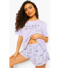 gelicenseerde rachel friends pyjama set met shorts, lilac