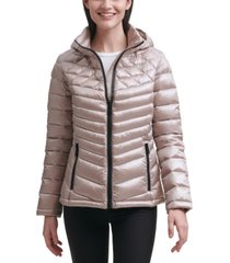 calvin klein shine hooded packable puffer coat, created for macy's