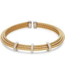alor women's 18k white gold, diamond & stainless steel cable bracelet