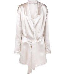 the attico frayed metallic-sheen robe jacket - pink