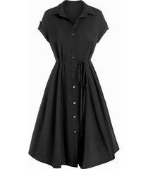 buttons self tie belted shirt dress