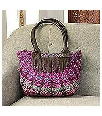 leather accented cotton shoulder bag, 'rajasthani garden' (india)