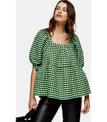 lime green neon check chuck on blouse - lime